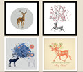 Nordic Animal Elk Wall Art Oil Prints Poster Canvas Painting for Living Room Kids Room Home Decor No Frame
