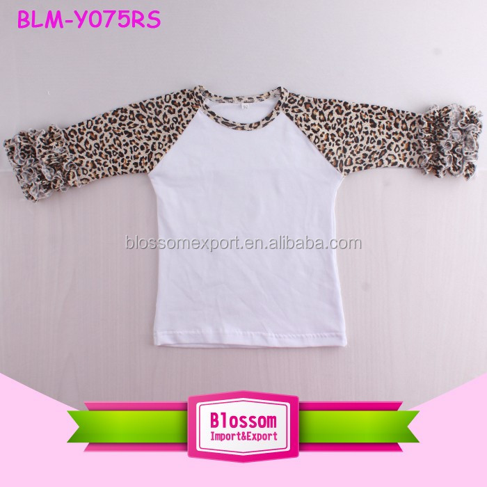 Leopard Girl Triple Ruffle Raglan Sleeve Cotton Shirts Fashionable Children's Plain Clothes Wholesale Ruffle Raglan Kids Shirt
