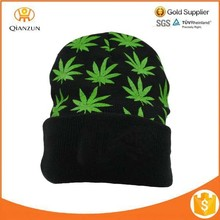 Black Green Rasta Weed Knit Winter Ski Ganja Maple Leaf Turnup Marijuana Weed Leaf Cannabis Beanie