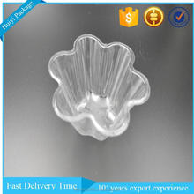Clear plum blossom shape PET plastic cupcake container.
