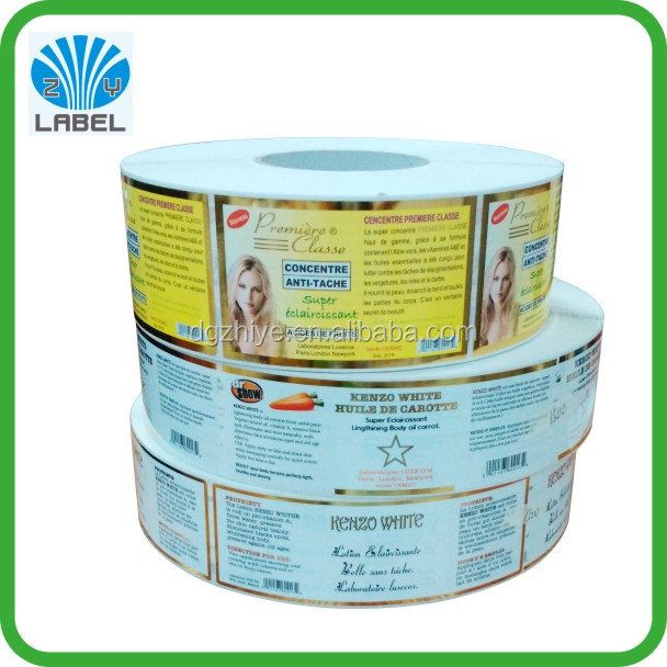 New arrival custom vinyl label printing, adhesive bottle labels, gold stamping roll label sticker