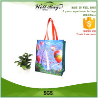 custom high class PET RPET green recycled shopping tote bag