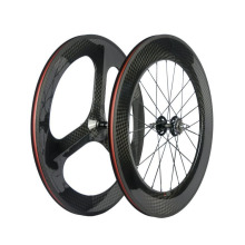 Wholesale customized carbon road wheels front black tri-spokes rear 88mm wide wheels