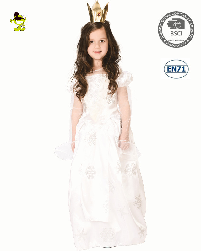 Wholesale White Baby Girls Party Dresses kids snow queen costume dress