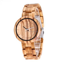 Custom LOGO Olive wood watch whole natural wooden watch set