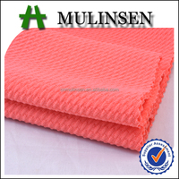 Best Sell Mulinsen Textile Cheap Price Knit Rice Pattern 94% Polyester 6% Spandex Plain Dyed Jacquard Fabric for Dress