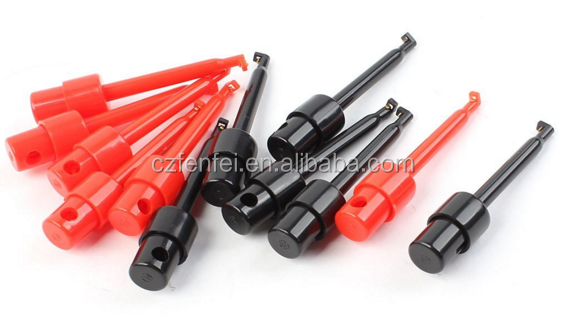 Black Red Plastic Coated Multimeter Test Lead Single Hook Clips 12pcs