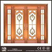 Top quality luxury front door style security copper door with pattern glass