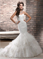 White elegant trumpet/mermaid backless low cut wedding dress with detachable train