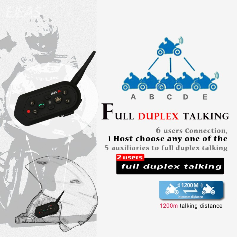 Hot selling Ejeas E6 plus full duplex bluetooth intercom motorcycle