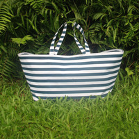 Free shipping via FedEx, Wholesale blanks Stripe Canvas Folding Game Day Totes Cotton Shopping bags Utility Totes DOM107206
