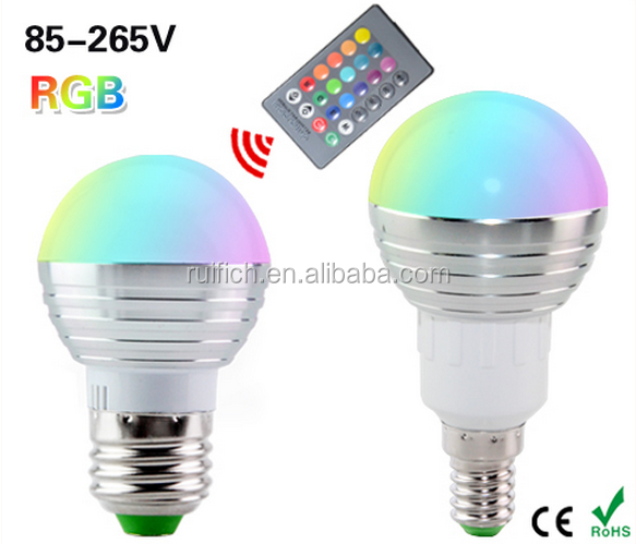 RGB LED Bulb 3W GU10 E27 E14 B22 16 Color Change Lamp spotlight 85-265V with IR Remote led spot