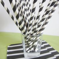 Black and White striped paper straight drinking straws