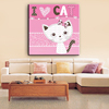 Cat and words cartoon red color animals canvas painting