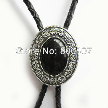 New Silver Plated Small Size Vintage Black Agate Celtic Bolo Tie