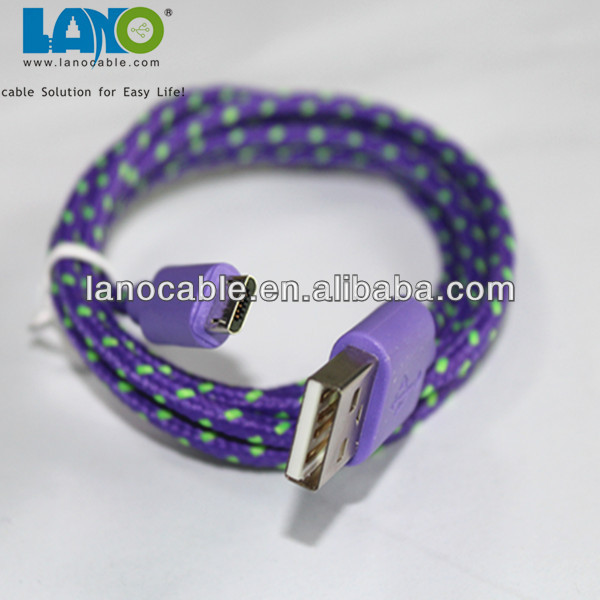 With metal plug two sides micro usb cable cloth braided y cable