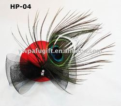 peacock feather top hat mini hat