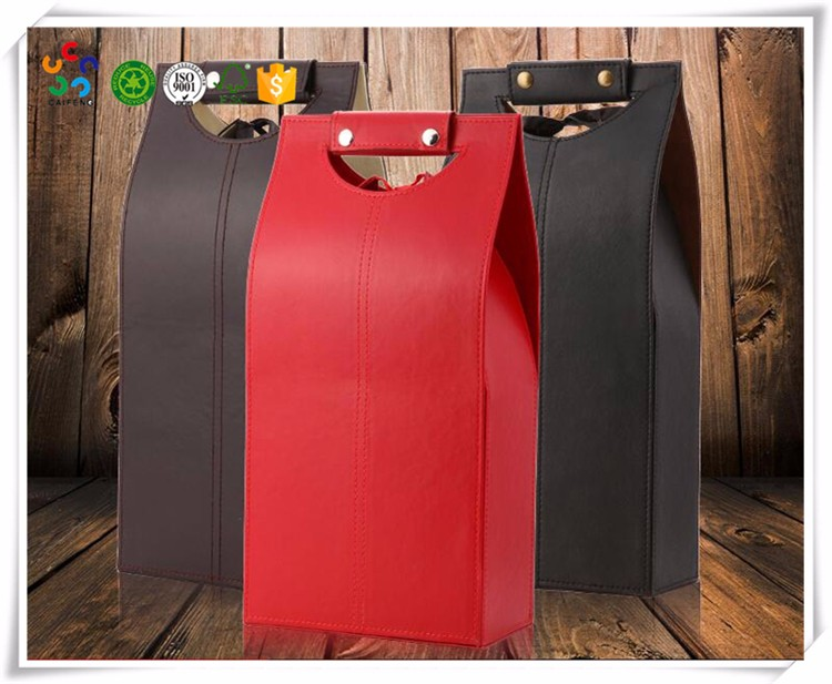 Hot selling wine bottles packaging box leather wine carrier