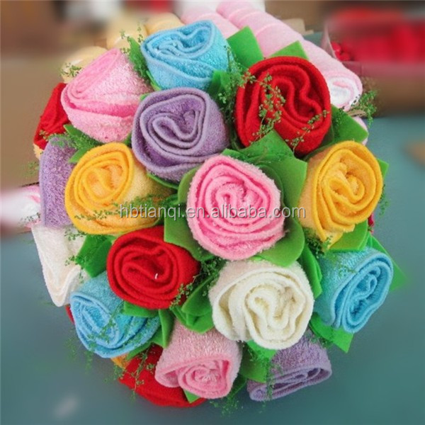 Rose Towel For Wedding / Rose Flower Shape Towel Cake/promotion Towel Gifts