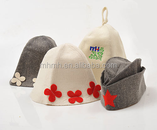 Felt Sauna Classic Set, Mitten + Hat + Rug for Russian Banya