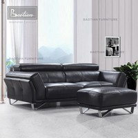 Modern furniture leather sofa with relax headrests