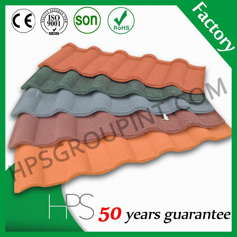 Chinese manufacture synthetic resin purple Spanish stone coated roof tile