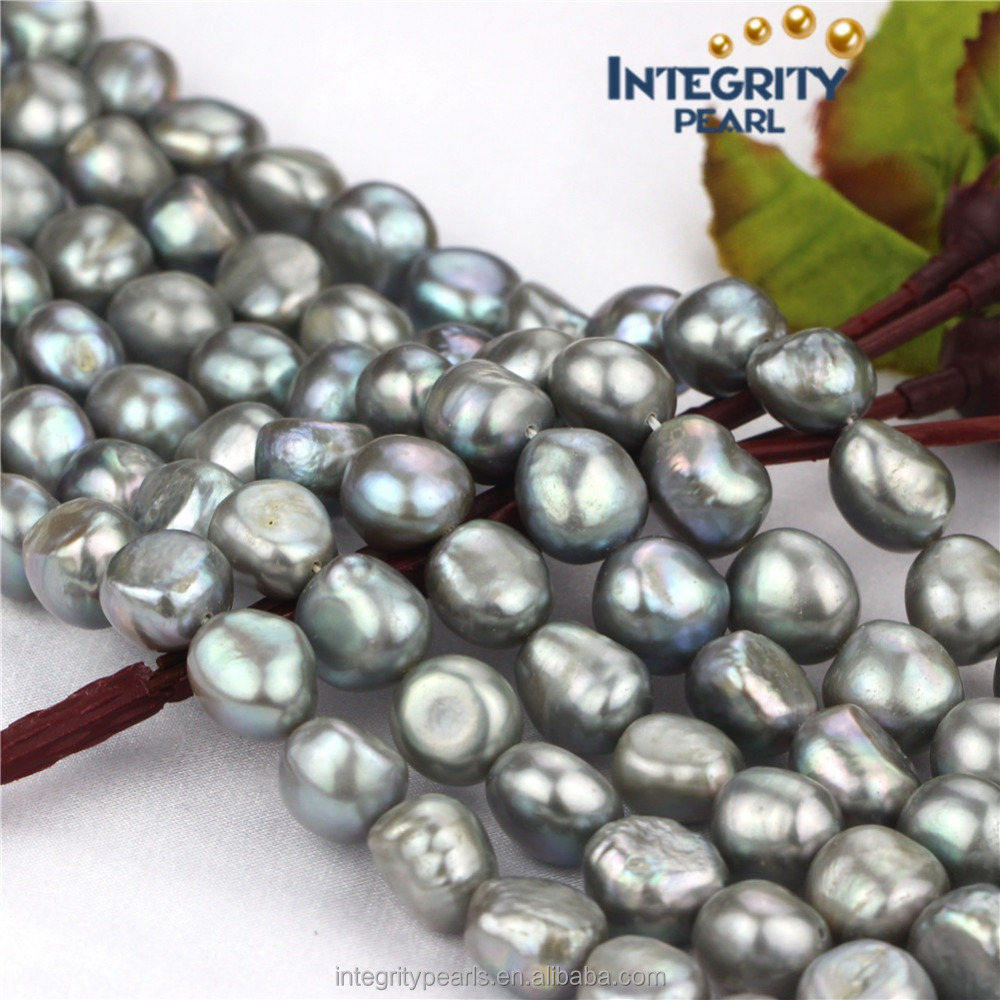 11-12mm AA baroque irregular silver gray natural freshwater pearl beads in bulk