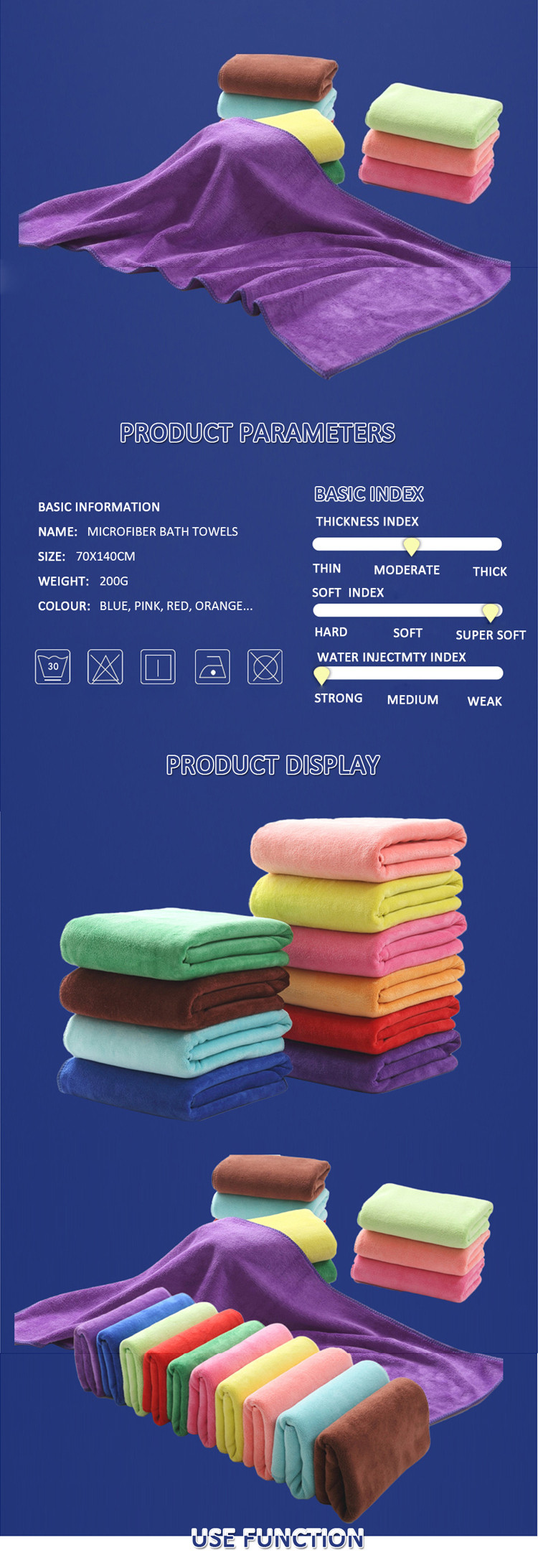Rainbow Soft Cotton Bath Towel / Wholesale Bath Towel 650Gsm 100% Quick-dry Direct From China Factory Bath Towel