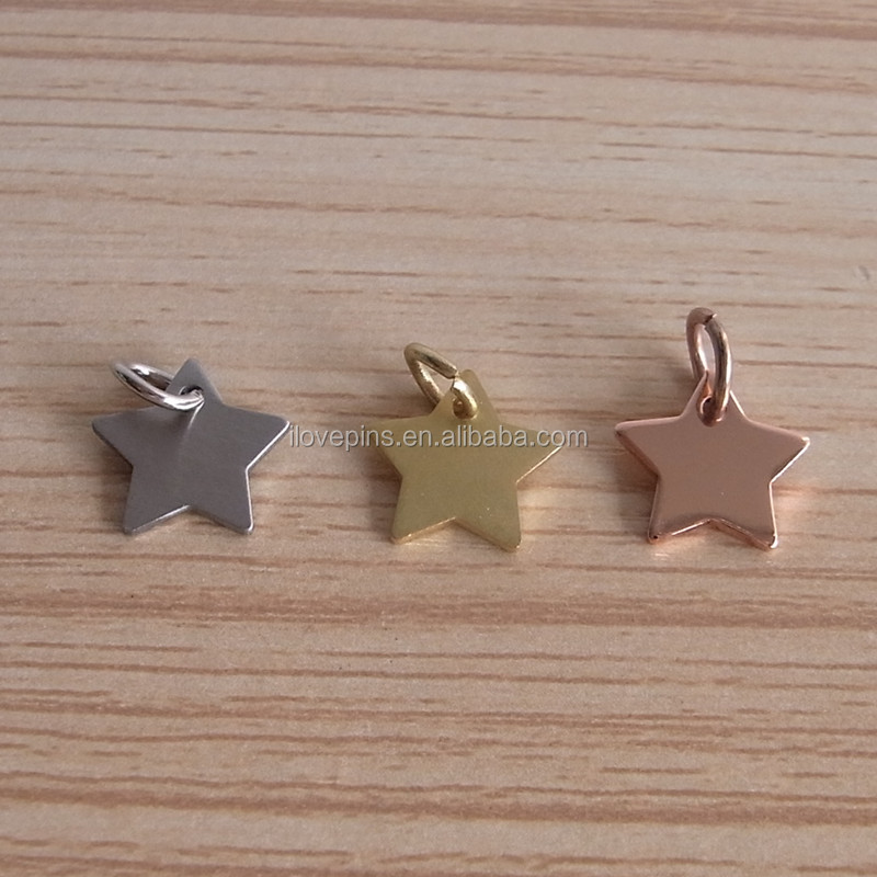 Cheap Price Star shaped Gold/Silver/Rose Gold Plating Mini Jewelry Tag <strong>Charm</strong>