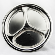 Hot selling products round shape stainless steel food serving tray with 3 compartments