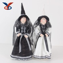 "19"" graceful plush witch doll for halloween decoration"