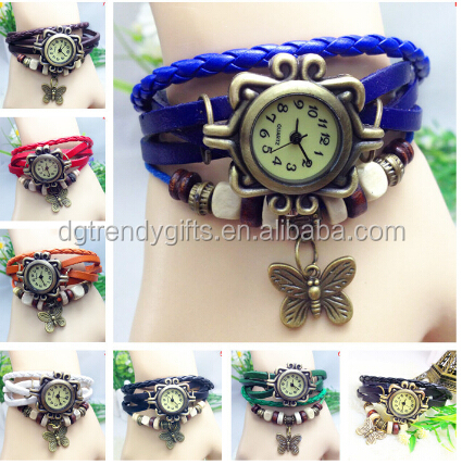 Cheap Women Lady Genuine Leather Butterfly Charm Bracelet Watches Mix 8 Colours