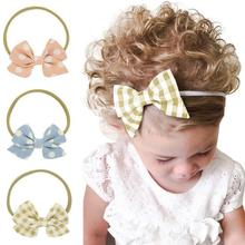 2017 new style baby girls bowknot hair accessories 4 inches large bow elastic bands fabric <strong>headbands</strong>