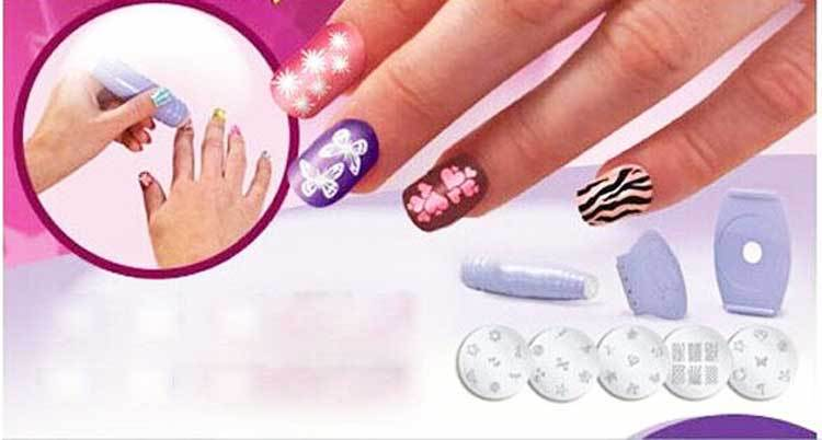 Wholesale high quality purple color Silicone Nail art Stamp kit with 5 stamp plates For Diy Nail Art