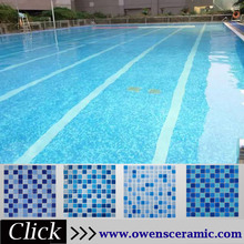 popular square art pattern blue swimming pool crystal glass mosaic