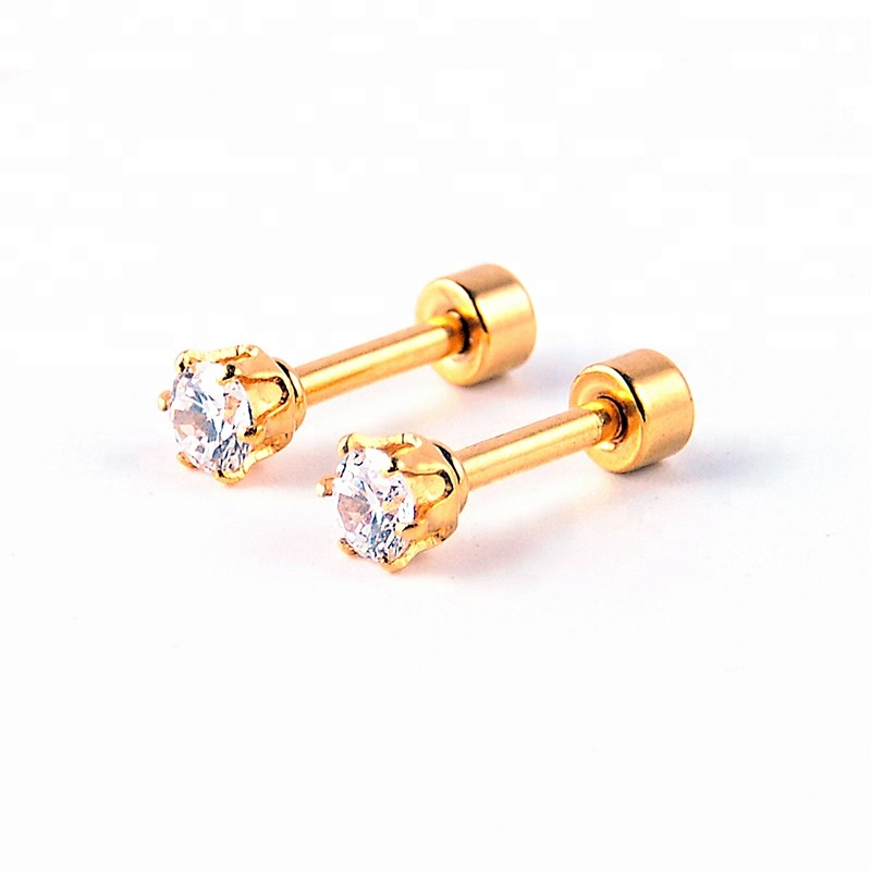 Fashion round zircon prong setting gold ear cartilage tragus jewelry