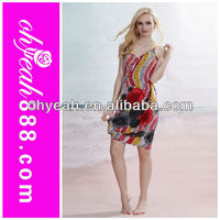The newest colorful painting sexy beach cover ups Open-Back Wrap front beach wrap dress