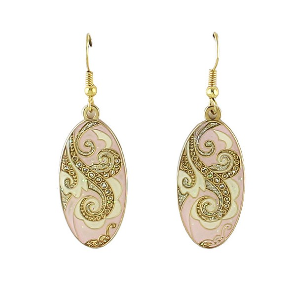Indian Fashion Jewelry Graceful Vivid Vintage Style Enamel Ellipse Drop Earrings for Elegant Women