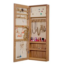 New wood wall mount mirror jewelry organizer armoire cabinet