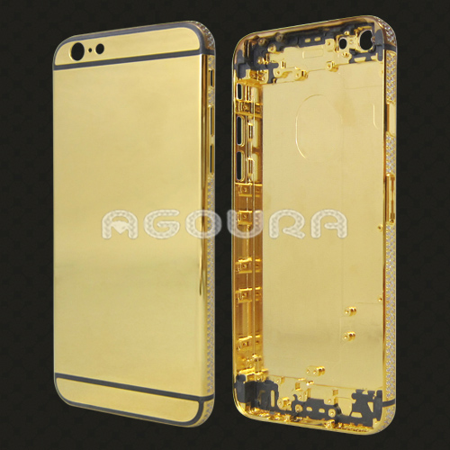 Mobile phone real gold housing for iPhone 6S Plus, frame with diamond replacement battery cover