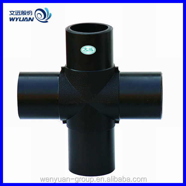 China factory PE butt fusion pipe fittings hdpe cross