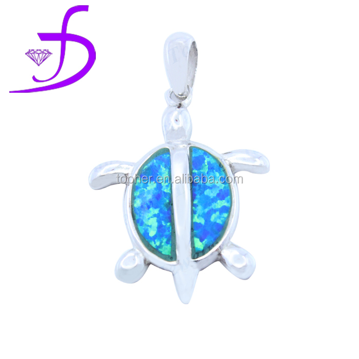 Fashion sea life tortoise blue fire opal pendant,wholesale 925 solid silver tortoise jewelry pendant