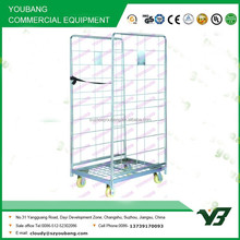 2015 hot sell heavy duty zinc collapsible wire mesh two side warehouse trolley with wheels (YB-L001)
