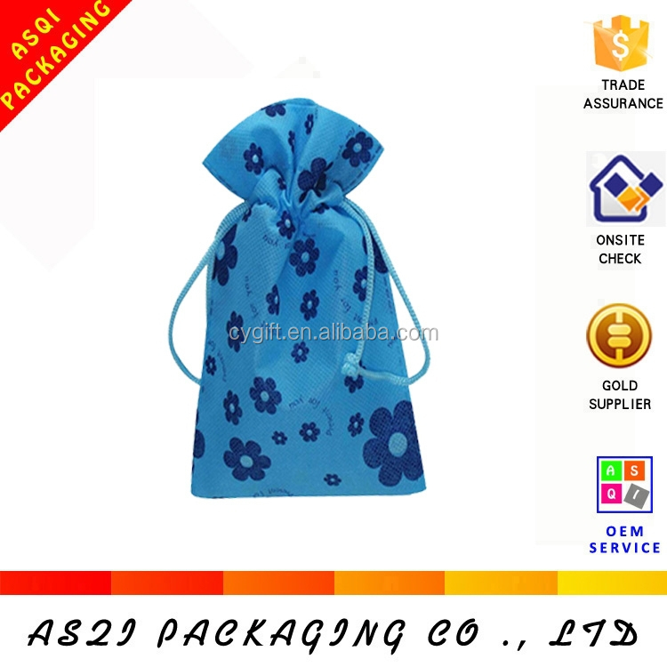 100% recycling custom printed small drawstring non woven eco-friendly bag
