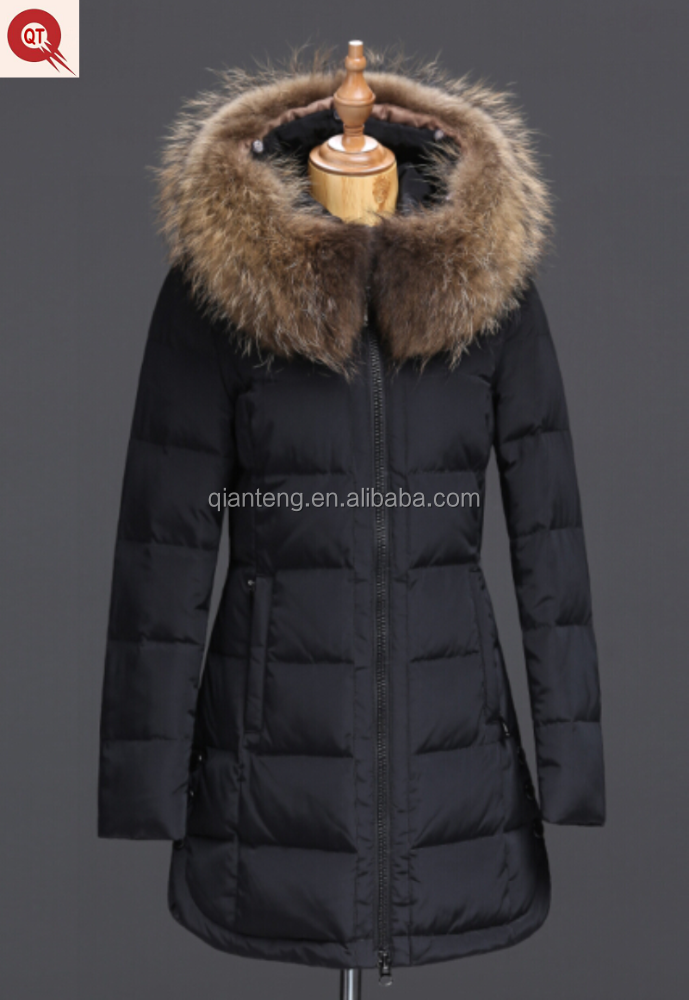 2016 new design female fur collar hoodie down jacket for winter