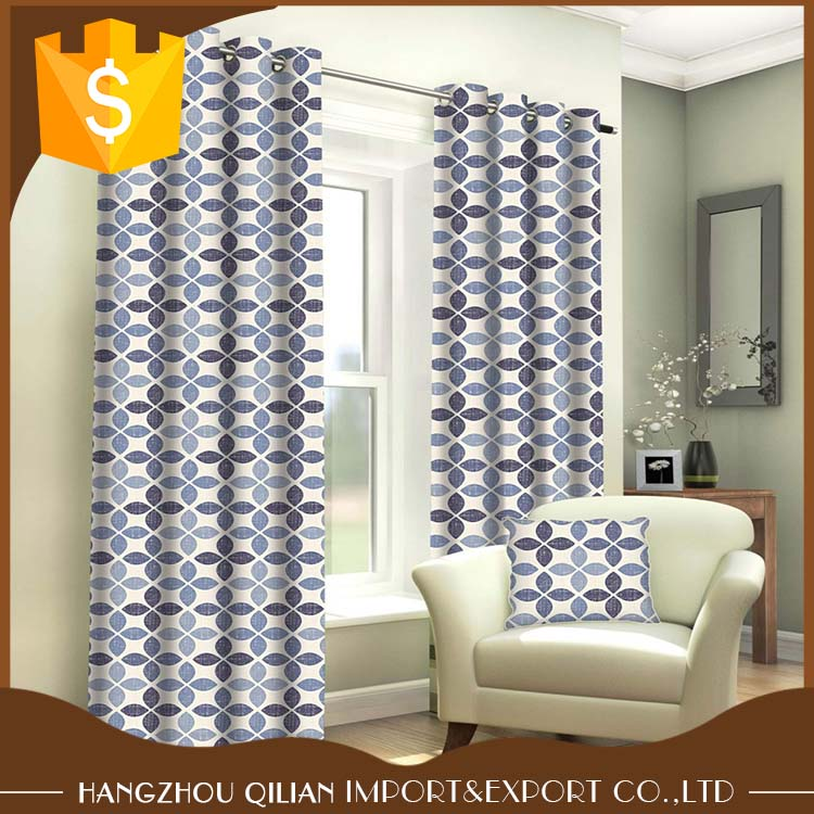 100% cotton fabric geometric Print Eyelet Curtains