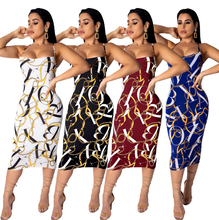 QF0566 Wholesale 2019 sexy <strong>chain</strong> printed back hollow strap women dresses