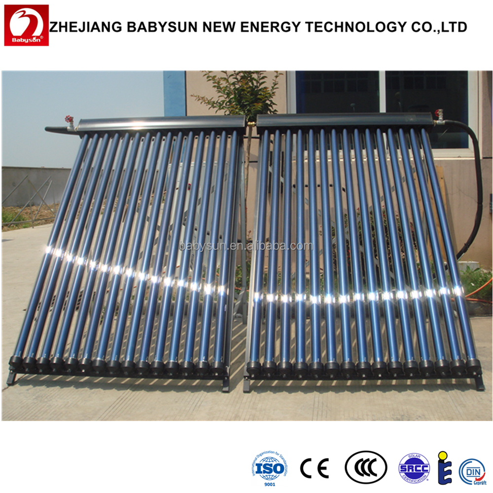 split heat pipe parabolic trough solar collector, solar water heater, calentador de agua solar