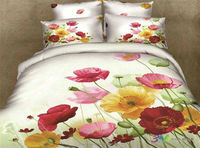 Poppy garden 100% cotton 3d printed bedding sets duvt cover sets comforter bed sheet