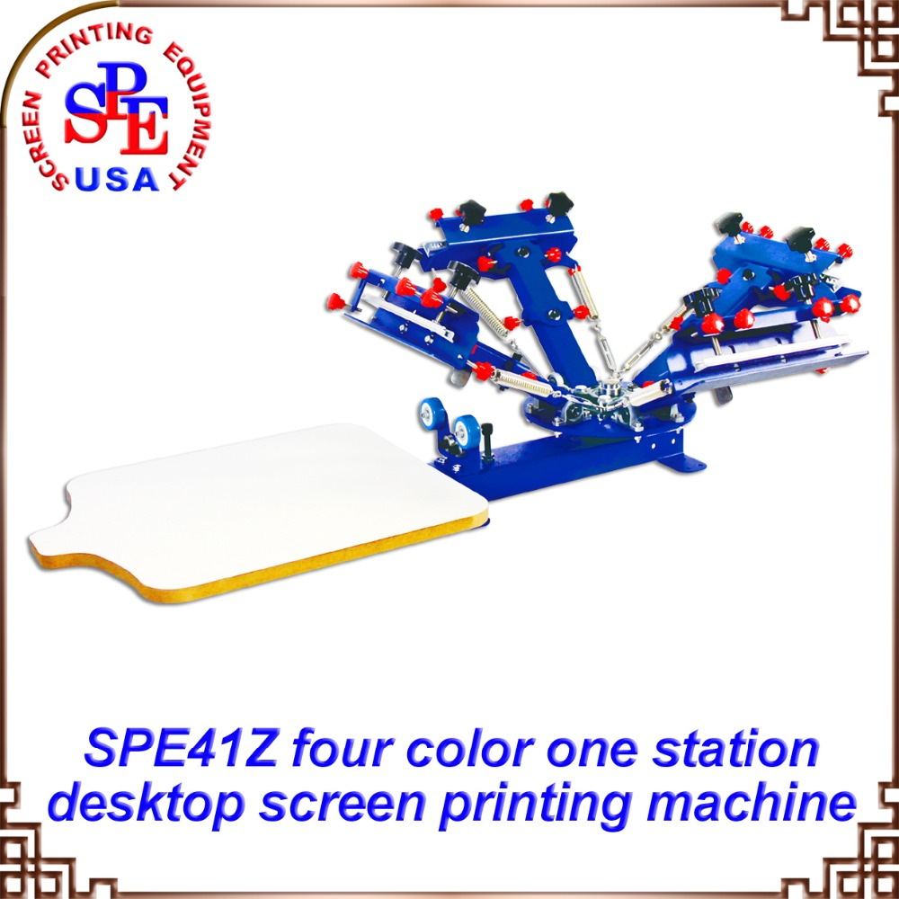 New! 4 color 1 station Micro Registration silk screen printing machine t-shirt printer press equipment carousel